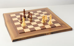 JLP Natural Edge Hardwood Chessboard #14 - Board - Chess-House