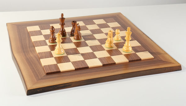 JLP Natural Edge Hardwood Chessboard #15 - Board - Chess-House