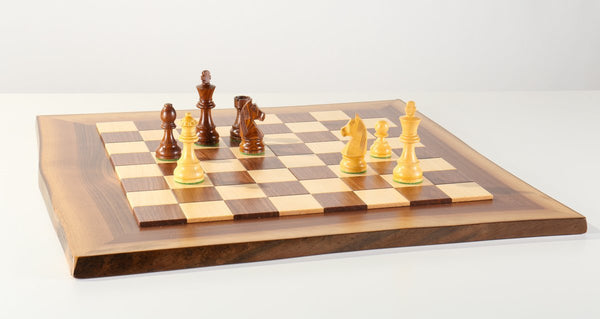 JLP Natural Edge Hardwood Chessboard #8 - Board - Chess-House