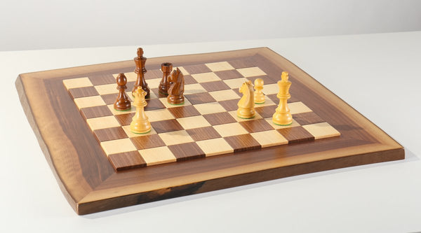 JLP Natural Edge Hardwood Chessboard #9 - Board - Chess-House