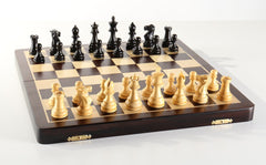 "Large 15 3/4"" Folding Magnetic Rosewood/Maple Chess Set in Leatherette Case - Chess Set - Chess-House"