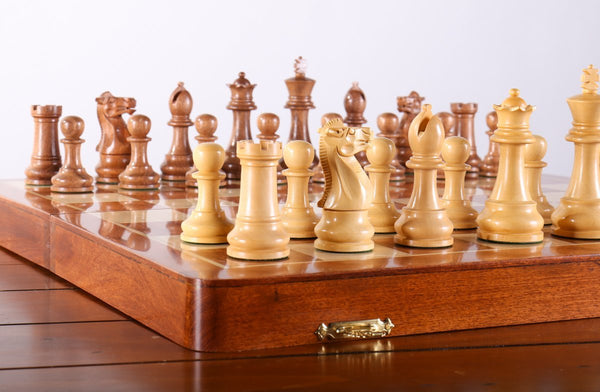 "Large 18"" Folding Magnetic Rosewood/Maple Chess Set in Leatherette Case - Chess Set - Chess-House"