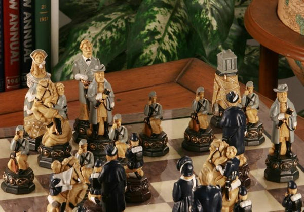 "Large 5"" Civil War Chess Set and Matching Gloss Board - Chess Set - Chess-House"