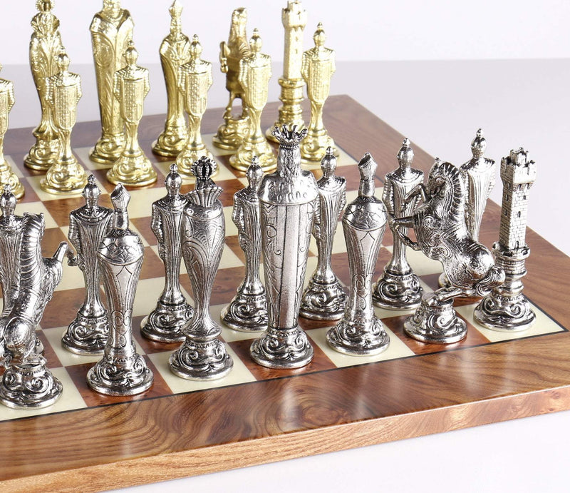 Large Metal Renaissance Chess Set On Elm Briarwood Board