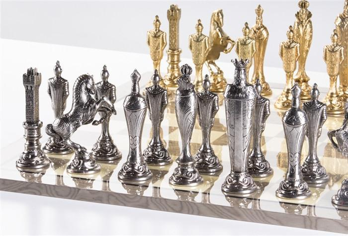 Large Metal Renaissance Chess Set On Grey Gloss Board