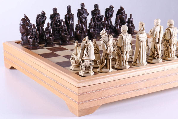 Marble and Resin Christopher Columbus Pieces on Beech Wood Chest - Chess Set - Chess-House