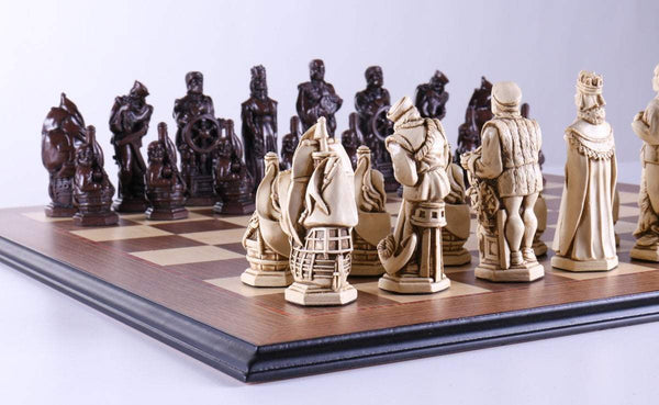 Marble and Resin Christopher Columbus Pieces on Walnut and Maple Board - Chess Set - Chess-House
