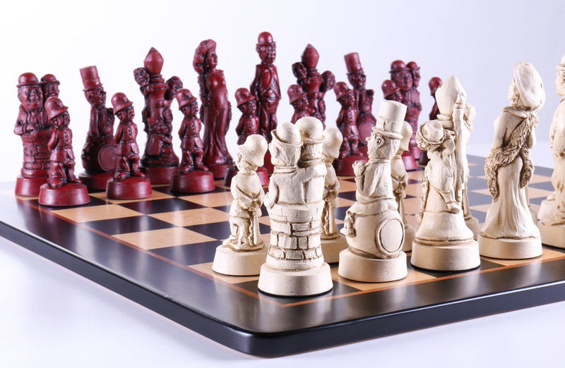 Hollywood's Golden Age Chess Set on Birdseye Maple Board