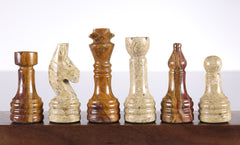 Marble Chess Pieces in Coral and Red Chess Set