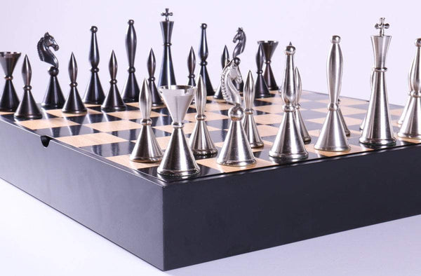 Metal Art Deco Chessmen on Storage Chest - Chess Set - Chess-House