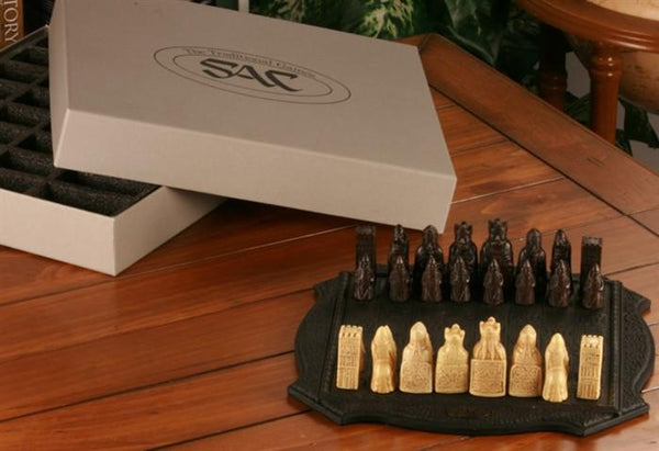 Mini Isle of Lewis Chess Pieces With Board - SAC Antiqued - Set - Chess-House