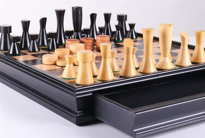 Modern Chess & Checkers Set with Storage