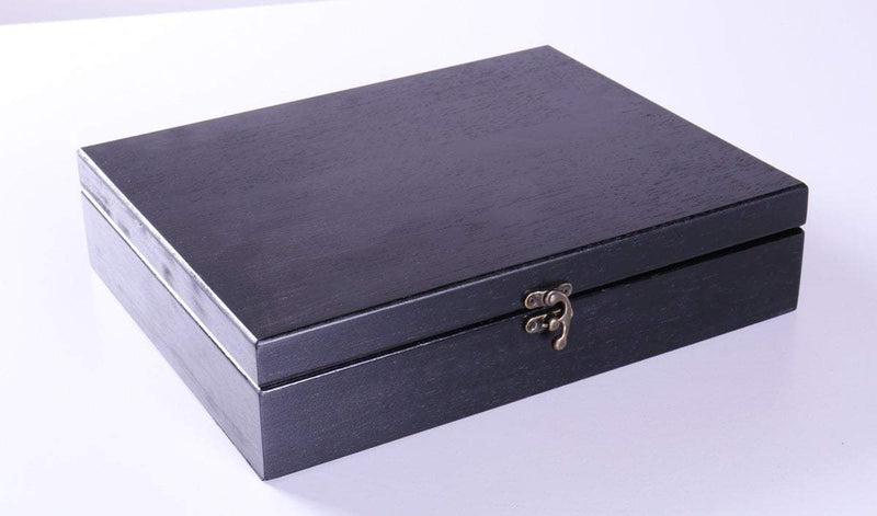 Old World Wooden Treasure Box with Brass Latch - Black Stain