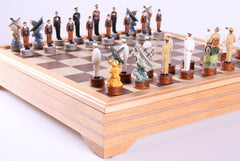 Pearl Harbor Chess Pieces on Beech Chest - Chess Set - Chess-House