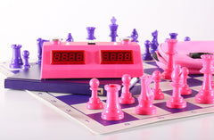 Pink and Purple Color Combo - With Clock and Scorebook - Chess Set - Chess-House
