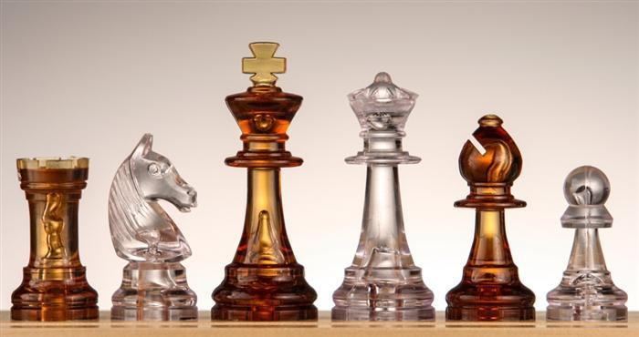 Plastic Chess Pieces No 6 - Amber