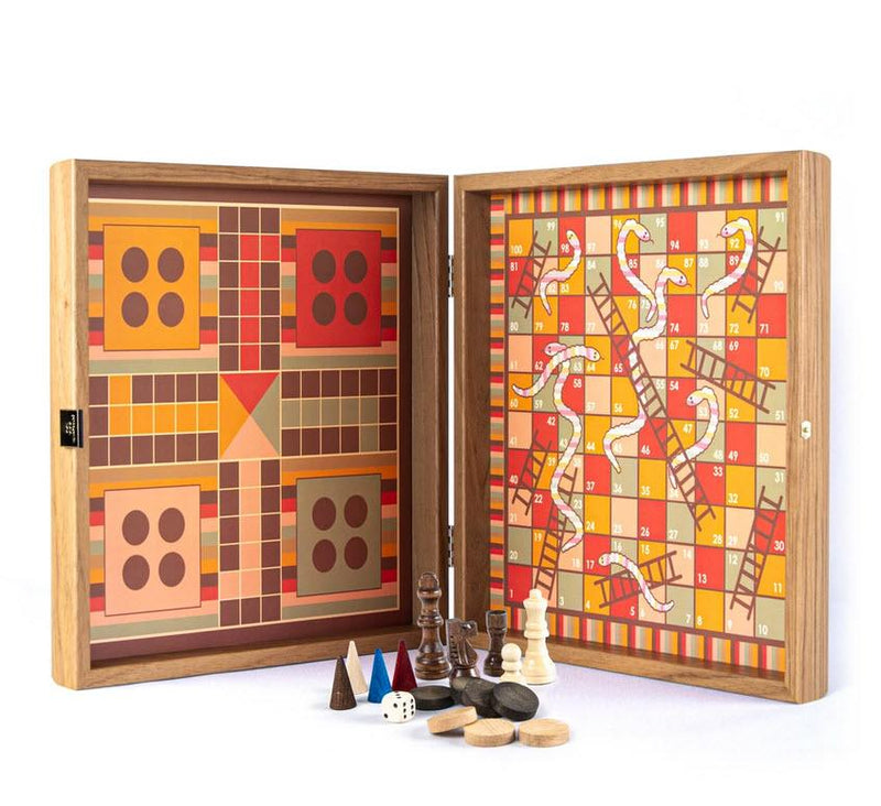 Rainbow Style Multi Game Set - Chess, Backgammon, Ludo, Snakes and Ladders