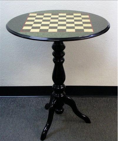 "Round Briarwood Lacquered Table - 2"" Squares - Green - Table - Chess-House"