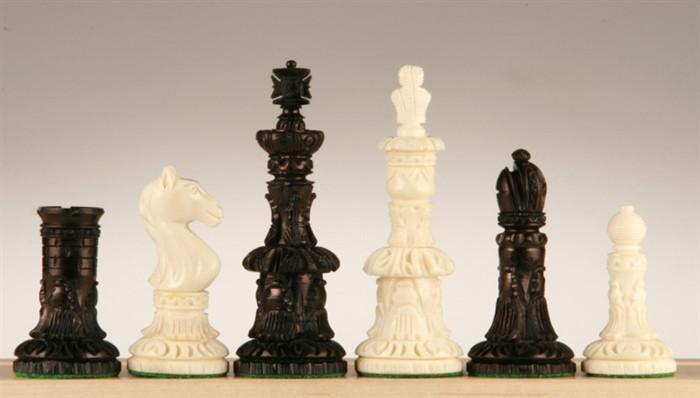Round Carved Camel Bone Chess Pieces