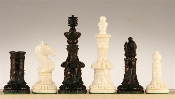 Round Carved Camel Bone Chess Pieces - Piece - Chess-House