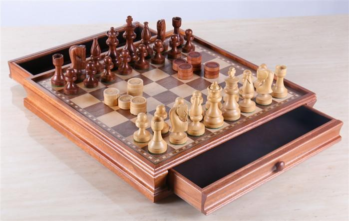 Russian Style Chess & Checkers Game Set - Weighted