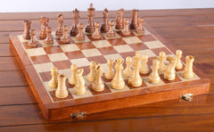 "SCRATCH & DENT: Large 18"" Folding Magnetic Rosewood/Maple Chess Set in Leatherette Case Garage Sale"