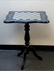 "Sculpted Briarwood Inlay Table - 1.5"" Squares - Blue - Table - Chess-House"