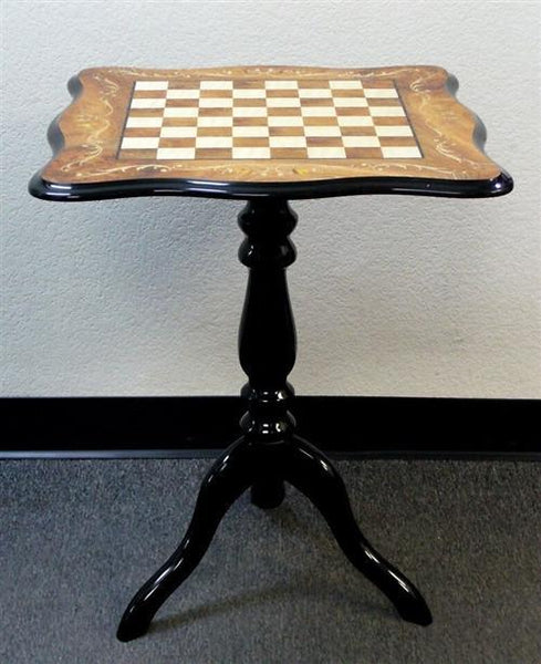 "Sculpted Elm Briarwood Inlay Table - 1.5"" Squares - Table - Chess-House"