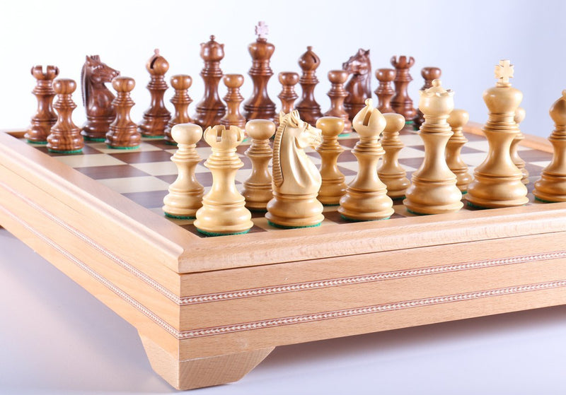 Shisham Chess Set on Beech Wood Chest