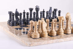 "SINGLE REPLACEMENT PIECES: 15"" Coral Stone & Black Marble Chess Set Piece"