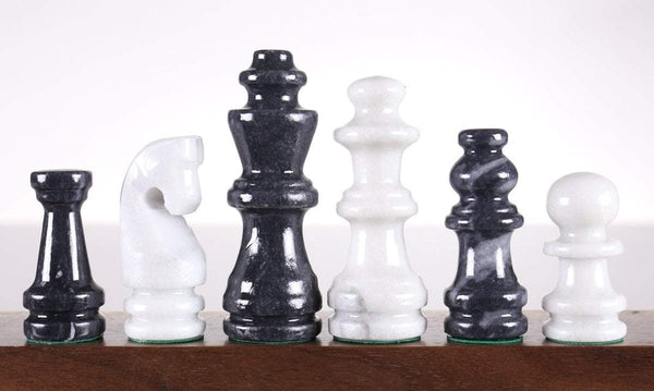 "SINGLE REPLACEMENT PIECES: 16"" Black and White Marble Chess Set"