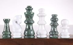 "SINGLE REPLACEMENT PIECES: 16"" Marble Green and White Chess Set - Parts - Chess-House"