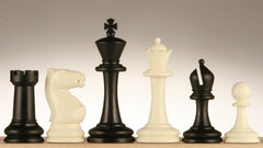 "SINGLE REPLACEMENT PIECES: 3 3/4"" Plastic Staunton Chess Pieces - Black and Ivory Piece"