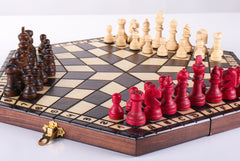 SINGLE REPLACEMENT PIECES: 3 Player Medium Wood Chess Set Piece