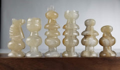 SINGLE REPLACEMENT PIECES: Mexican Onyx Pieces - Clear and Brown - Parts - Chess-House