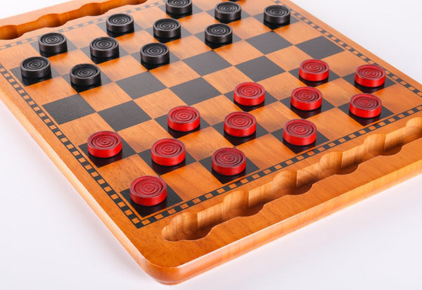 SINGLE REPLACEMENT PIECES: Red & Black Wood Checkers Set Piece
