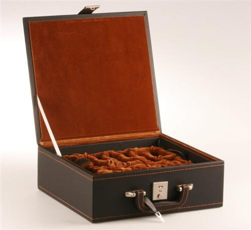 "Stitched Leather Chess Box Velvet Tray Style - up to 4"" Pieces - Box - Chess-House"