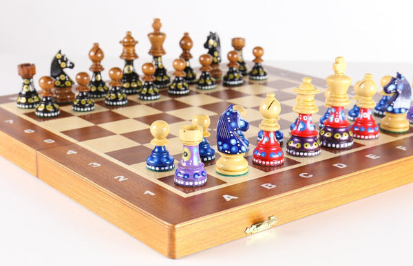 "Sydney Gruber Painted 16"" Folding Tournament Chess Set in German Design - Chess Set - Chess-House"