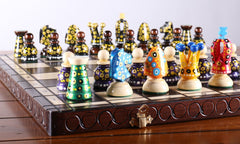 "Sydney Gruber Painted 17"" Large Kings Chess Set #1 - Chess Set - Chess-House"