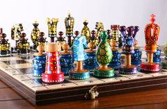 "Sydney Gruber Painted 20"" Large King's Inlaid Chess Set #1 - Chess Set - Chess-House"