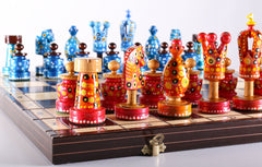 "Sydney Gruber Painted 20"" Large King's Inlaid Chess Set #2 - Chess Set - Chess-House"