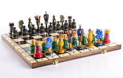 "Sydney Gruber Painted 20"" Large King's Inlaid Chess Set #3 Chess Set"