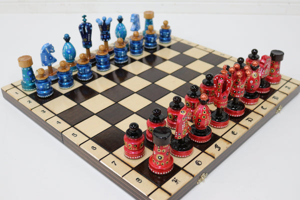 "Sydney Gruber Painted 20"" Large King's Inlaid Chess Set #4 Chess Set"
