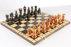 "Sydney Gruber Painted 20"" Large King's Inlaid Chess Set #5 in Bronze and Black - Chess Set - Chess-House"