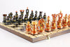 "Sydney Gruber Painted 20"" Large King's Inlaid Chess Set #5 in Bronze and Black"