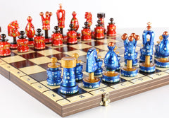 "Sydney Gruber Painted 20"" Large King's Inlaid Chess Set #6 in Blue and Red - Chess Set - Chess-House"
