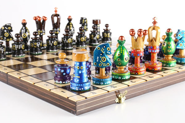 "Sydney Gruber Painted 20"" Large King's Inlaid Chess Set #7 in Multi-color and Black"