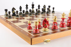 "Sydney Gruber Painted 20"" Tournament No 6 Chess Set in Red & Black - Chess Set - Chess-House"