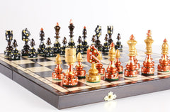 Sydney Gruber Painted Bronze & Black India Chess Set - Chess Set - Chess-House