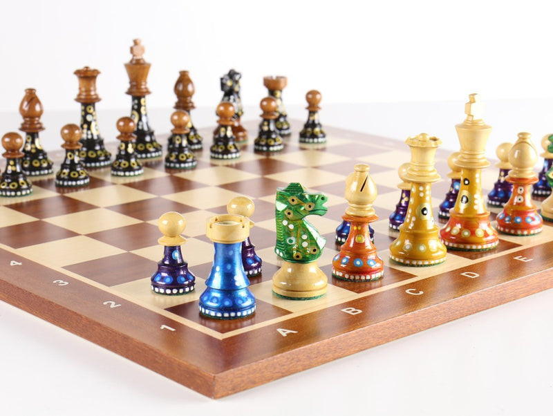 Sydney Gruber Painted Club Chess Set Combo #2 in Multicolor vs Black